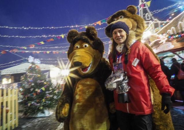 Feira natalina na Praça Vermelha de Moscou