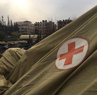 Local do hospital móvel do Ministério da Defesa da Rússia na Síria, atingido por um bombardeio em 5 de dezembro de 2016