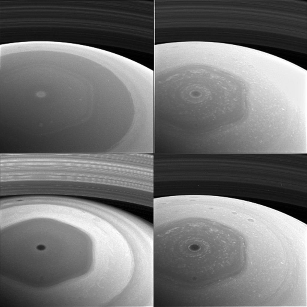 Colagem de vista pelo polo do Norte e anéis de Saturno, imagem tirada pela sonda Cassini