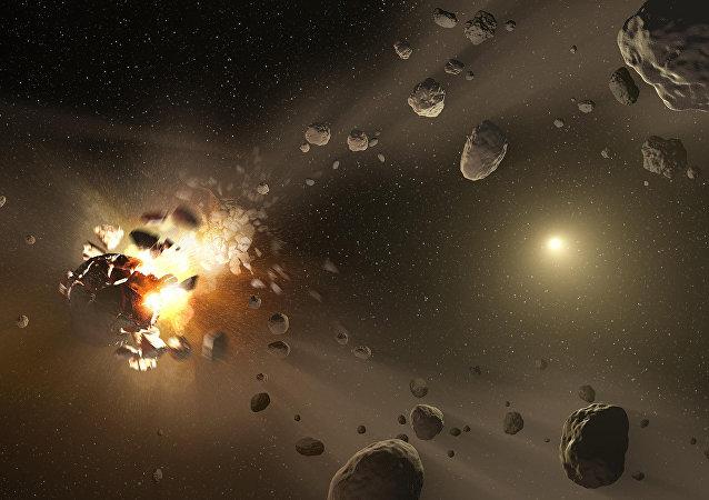 Grande asteroide se explodindo em vários destroços