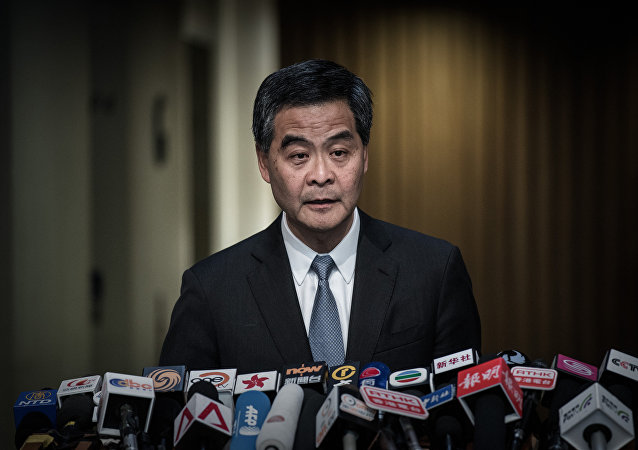 Hong Kong Chief Executive Leung Chun-ying addresses a press conference in Hong Kong on June 18, 2015