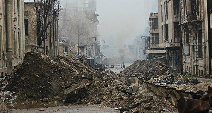 Praça principal na antiga cidade de Aleppo oriental, libertada um dia antes pelo exército sírio