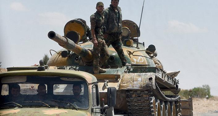 Soldados sírios durante operação em Palmira (foto de arquivo)