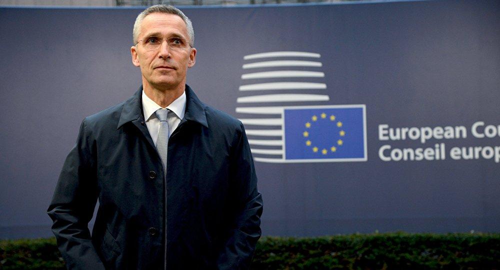 Secretário-geral da OTAN, Jens Stoltenberg, durante a cúpula da União Europeia, em Bruxelas