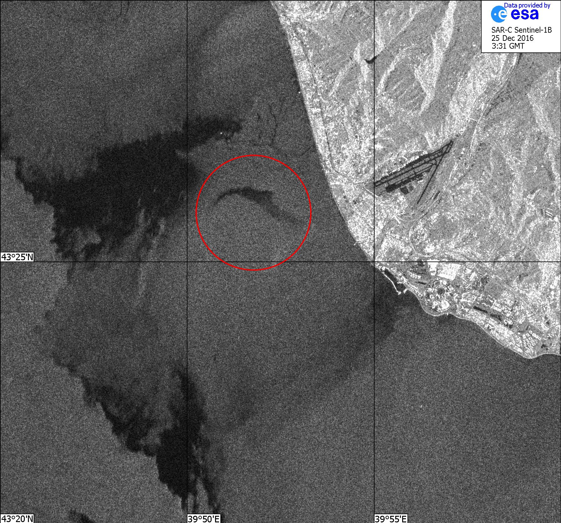 Imagem de satélite do local da queda do avião russo Tu-154