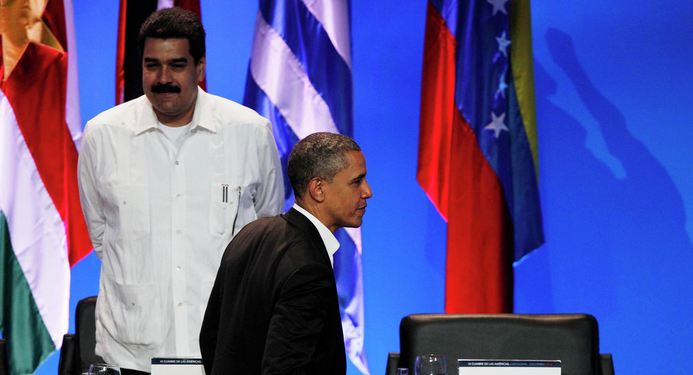 Presidente dos EUA Barack Obama e presidente da Venezuela Nicolas Maduro