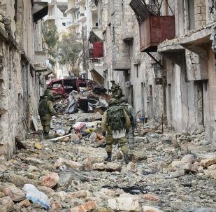 Militares russos em Aleppo recém-libertada