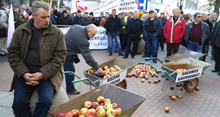 Agricultores poloneses protestam contra sanções antirrussas em Varsóvia
