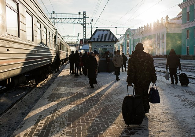 Passageiros de rodovias russas na cidade de Omsk