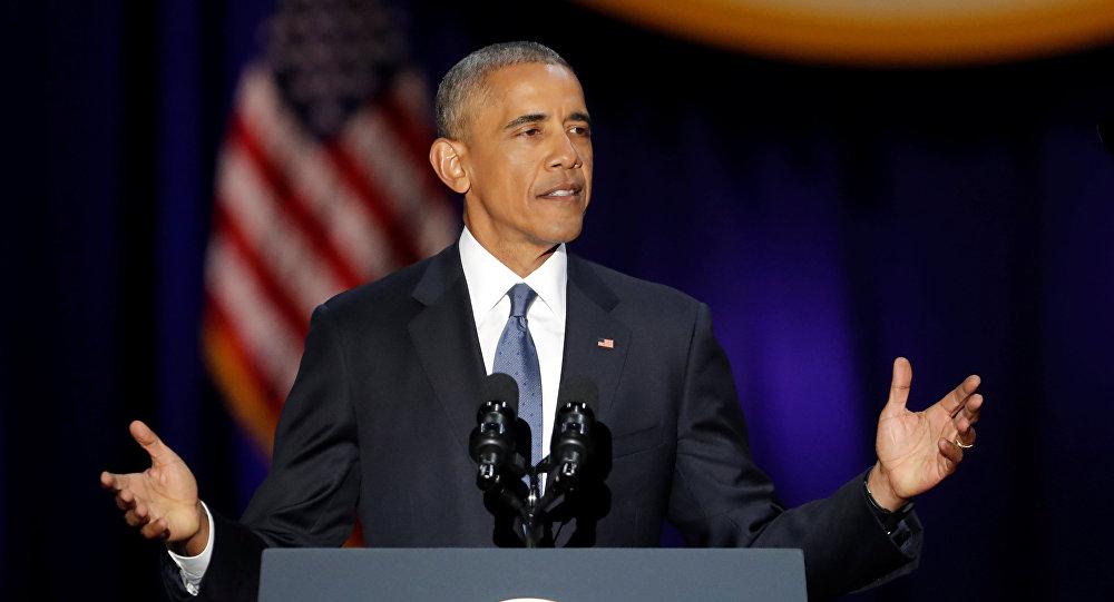 Barack Obama durante seu último discurso no cargo presidencial no Palácio de McCormick em Chicago, 11 de janeiro de 2017