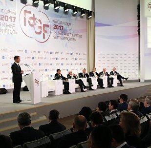 Primeiro ministro da Rússia, Dmitry Medvedev, participa do VIII Fórum Gaidar