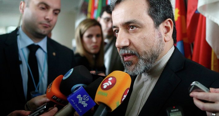 Iran's chief nuclear negotiator Abbas Araghchi talks to the media after meeting IAEA Director General Yukiya Amano (not pictured) at the IAEA headquarters in Vienna February 24, 2015