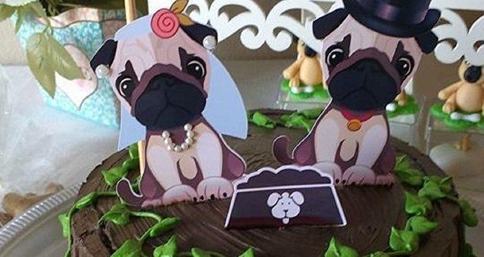 O bolo do casamento de Lanna e Habib