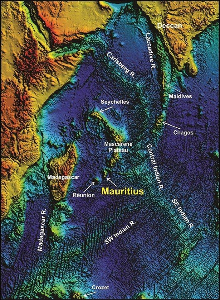 Mapa do oceano Índico nos arredores do lago de Maurício
