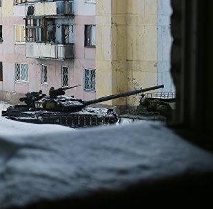 Tanque ucraniano na cidade de Avdeevka, Ucrânia