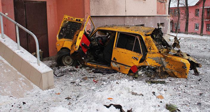 Donetsk após bombardeios