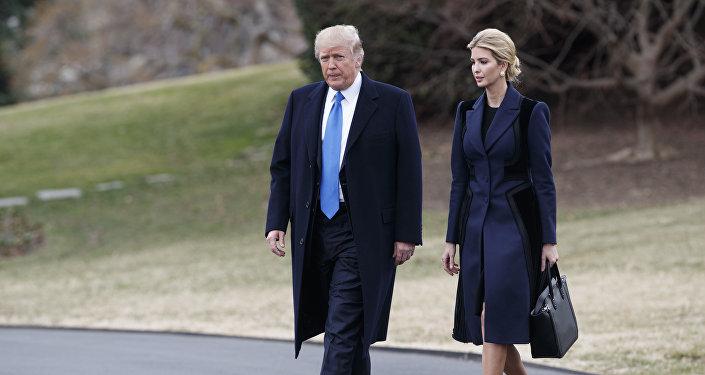 Ivanka Trump com o seu pai 45º presidente dos EUA, Donald Trump