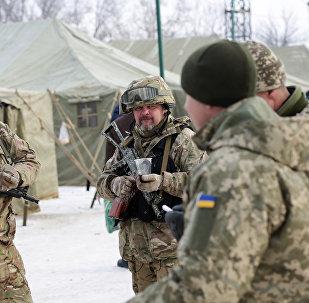 Militares ucranianos em Avdeevka em 1 de fevereiro de 2017