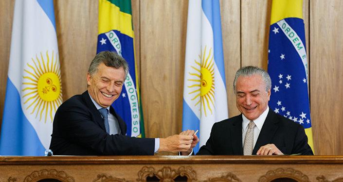 Presidente Michel Temer recebe o presidente argentino, Mauricio Macri