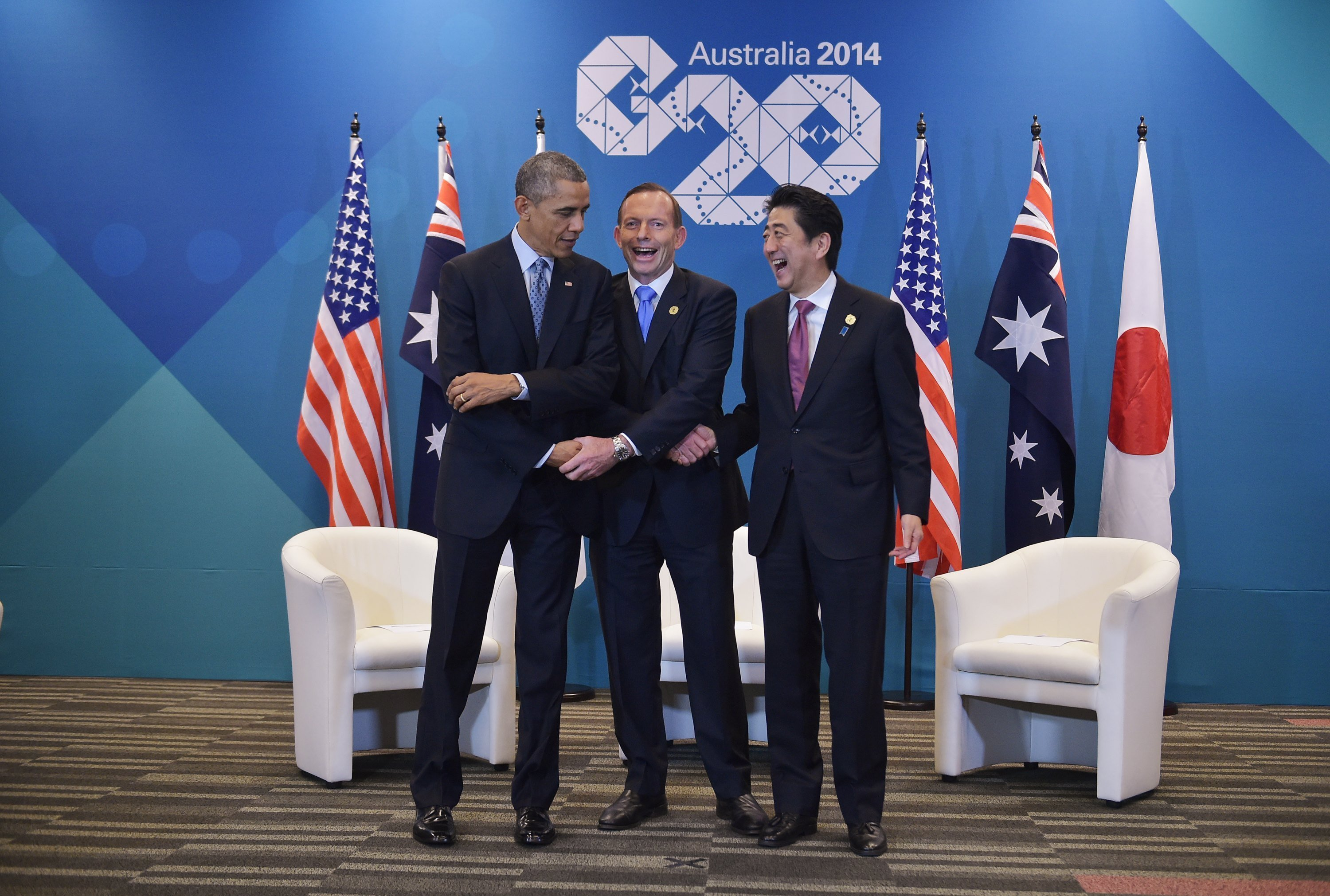 Barack Obama, Tony Abbott e Shinzo Abe