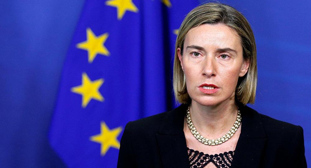 A Alta Representante da UE para Política Externa e Segurança, Federica Mogherini, na sede da Comissão Europeia em Bruxelas, em 2 de fevereiro de 2017