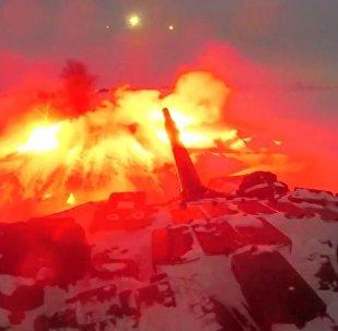 Um tanque participa de manobras na região de Orenburgo