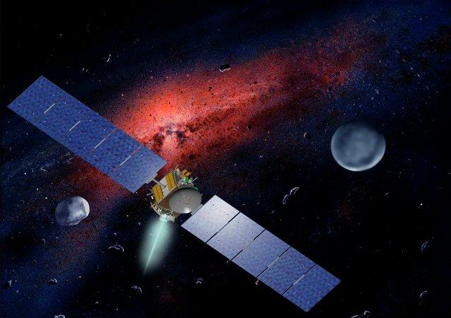 Nave espacial Dawn da NASA em frente ao planeta Ceres e ao asteroide Vesta
