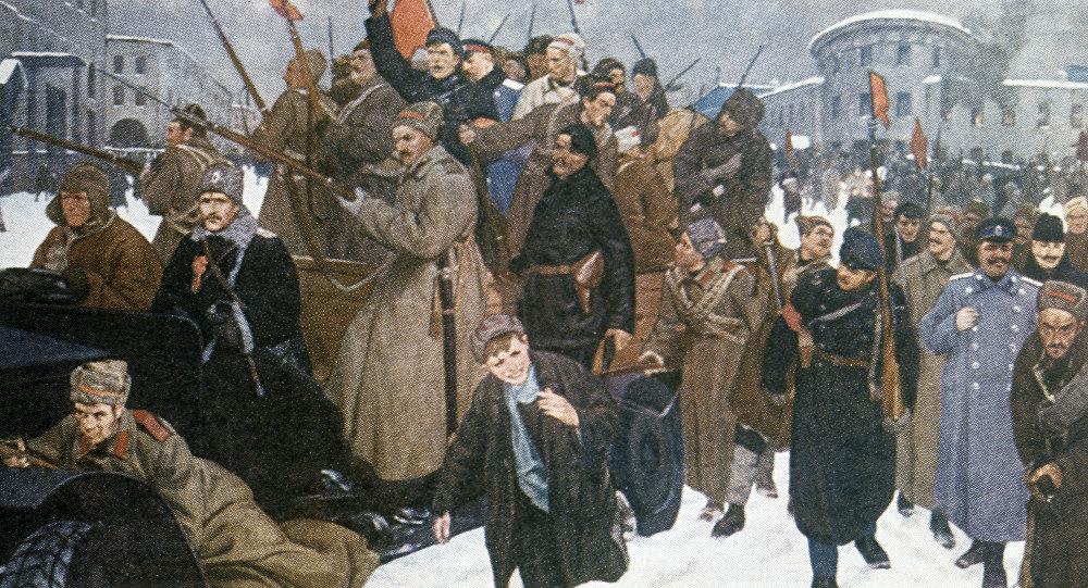 Reprodução do quadro Revolução de Fevereiro de Vladimir Kuztensov, ano de 1926