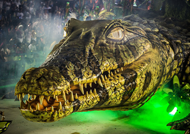 Enorme jacaré representa a fauna amazônica no desfile da Imperatriz Leopoldinense