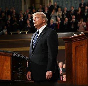 Presidente dos EUA Donald Trump durante discurso na sessão do Congresso dos EUA (foto de arquivo)