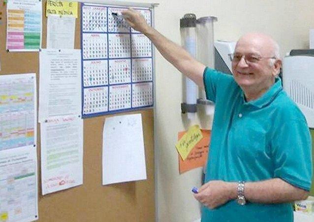 O Professor Luiz Antônio Jarcovis em seu último dia de aula