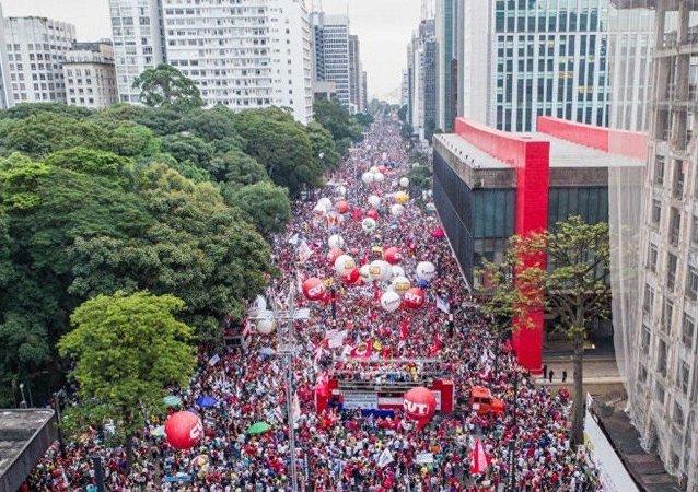 Manifestação na Avenida Paulista contra a proposta de reforma da Previdência