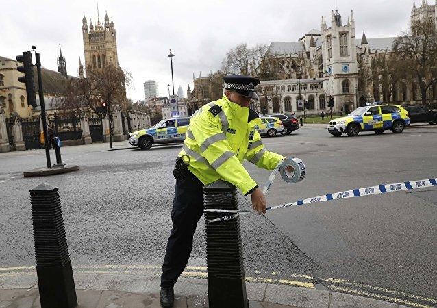 Um agente da polícia britânica sela o acesso à praça do Parlamento, em Londres, após tiroteio
