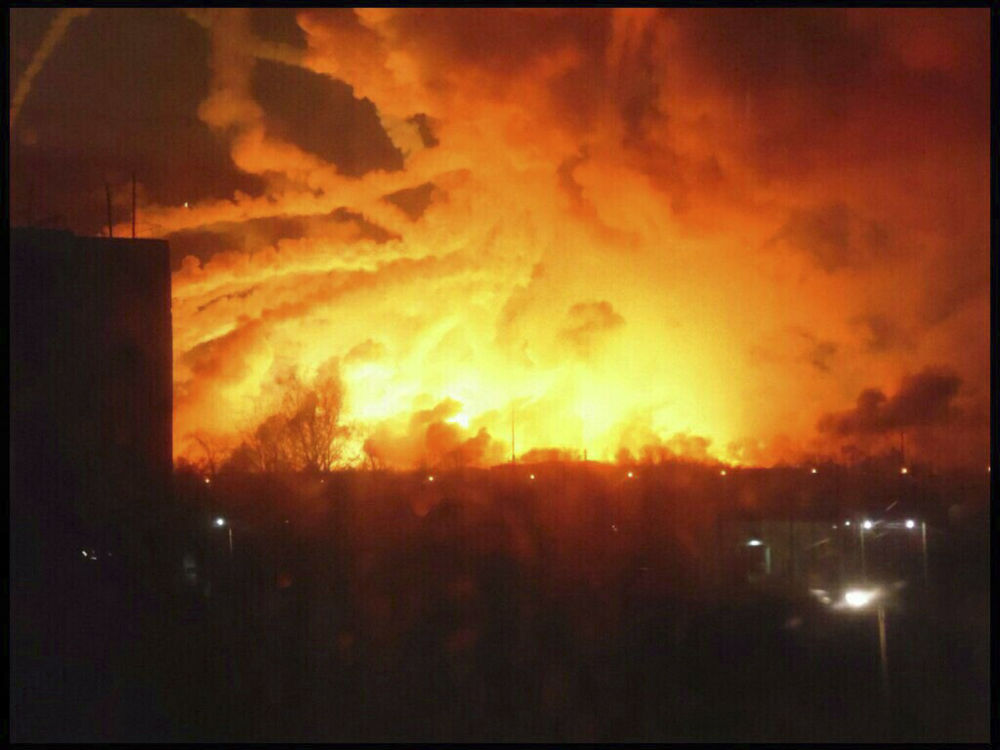 Incêndio em paiol de munições na cidade da Balakleya, na região de Carcóvia