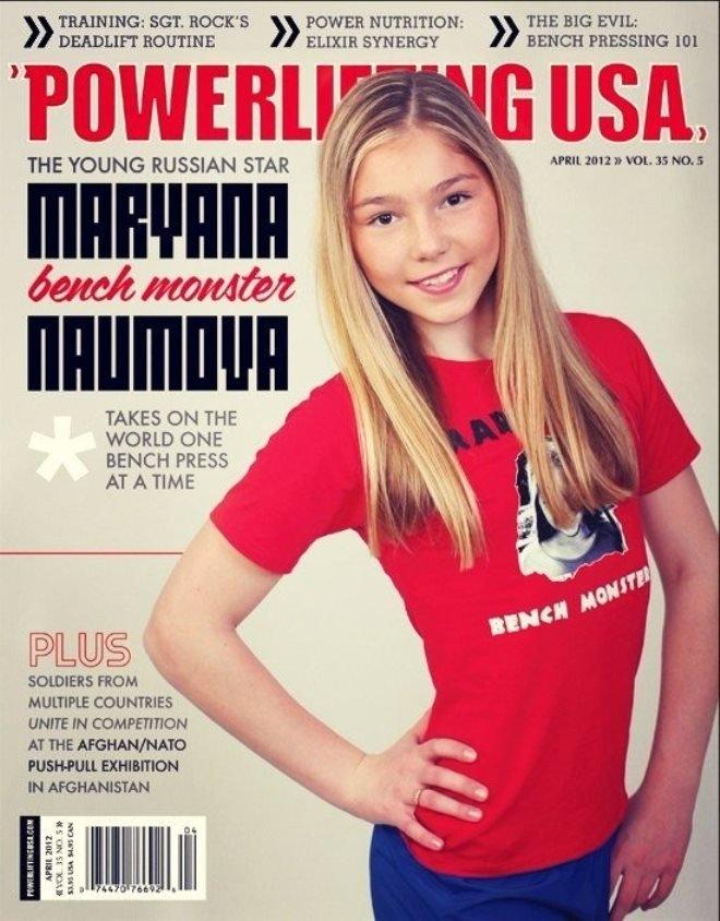 A revista Powerlifting USA de abril de 2012 com Mariana Naumova na capa