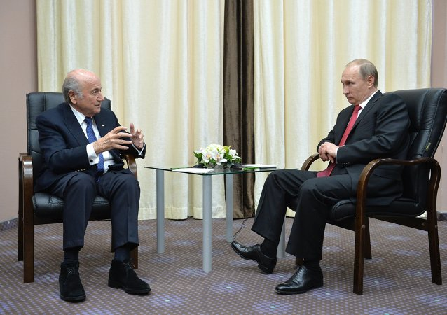 Russian President Vladimir Putin (right) and FIFA President Joseph S. Blatter