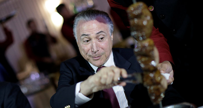 Temer durante jantar com Embaixadores em uma churrascaria de Brasília, 19 de março de 2017
