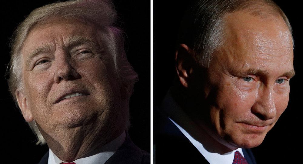 O Presidente da Federação da Rússia Vladimir Putin e seu homólogo dos EUA Donald Trump