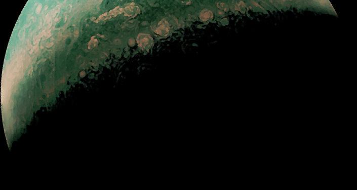 A imagem foi especialmente criada para mostrar os tons verdes do planeta. Mas não se preocupe, Júpiter ainda é cor de laranja