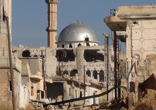 Cidade de Hama destruída na Síria.