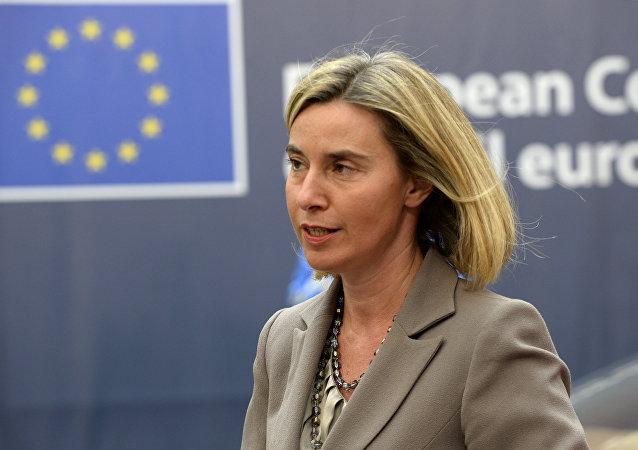 A Alta Representante da UE para Política Externa e Segurança, Federica Mogherini,na sede da UE, em Bruxelas
