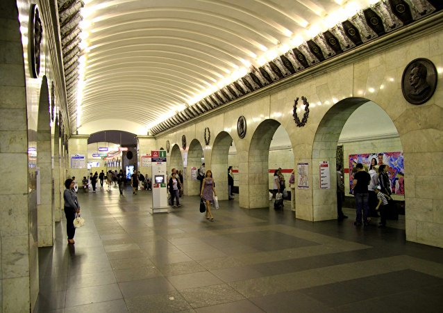 An interior view shows Tekhnologicheskiy institut metro station in St. Petersburg, Russia (File)