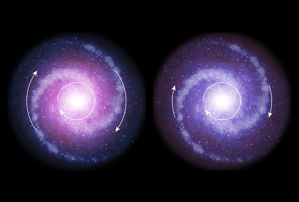 Graças aos estudos quanto à distribuição de matéria obscura pelos cantos do Universo, os investigadores chagaram à conclusão de que a matéria referida era ausente nas primeiras galáxias ou existia, mas se comportava de modo diferente. A foto mostra uma galáxia moderna que contém matéria obscura (à esquerda) e uma galáxia antiga
