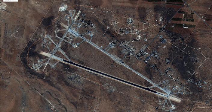 Base aérea de Shayrat vista em 7 de outubro de 2016 por um satélite dos EUA