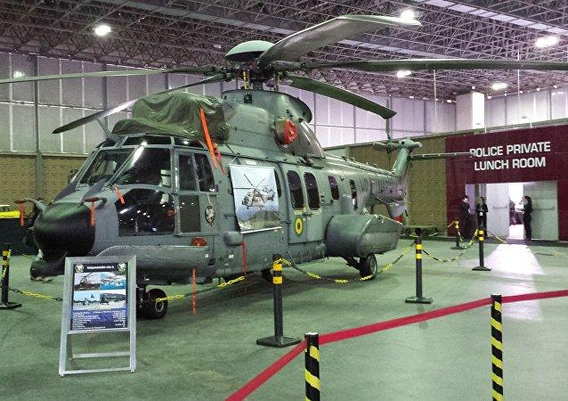 Helicóptero Super Cougar do 2º Esquadrão de Emprego Geral (HU-2) da Marinha do Brasil