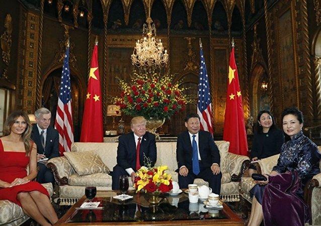 Encontro entre o presidente dos EUA, Donald Trump, e o líder da China, Xi Jinping em Mar-a-Lago, Palm Beach, Flórida, 6 de abril de 2017