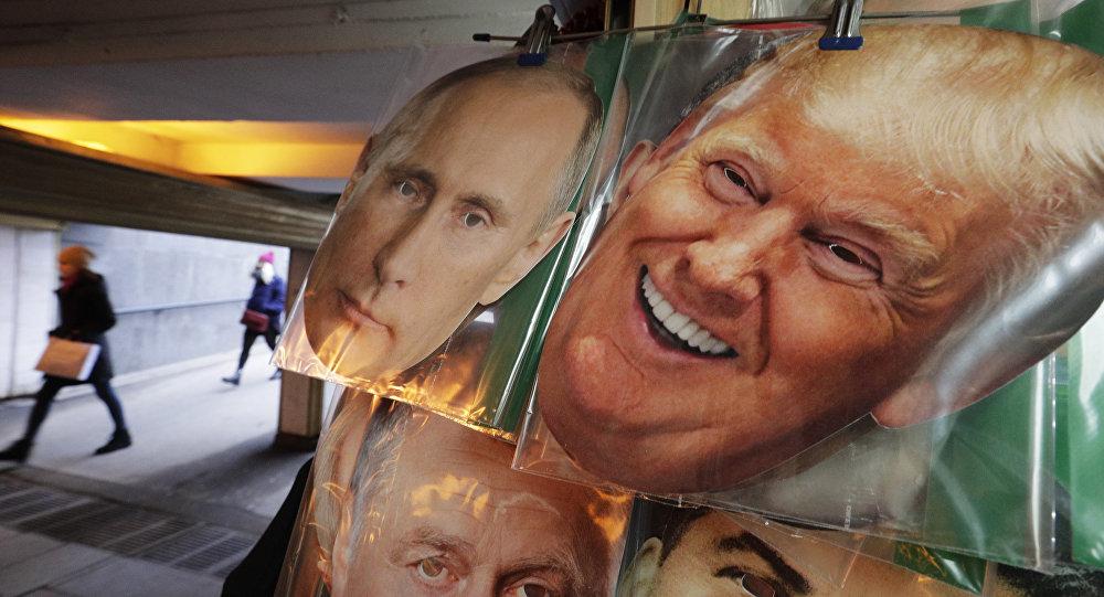 Fotos do presidente dos EUA, Donald Trump, e do presidente da Rússia, Vladimir Putin.