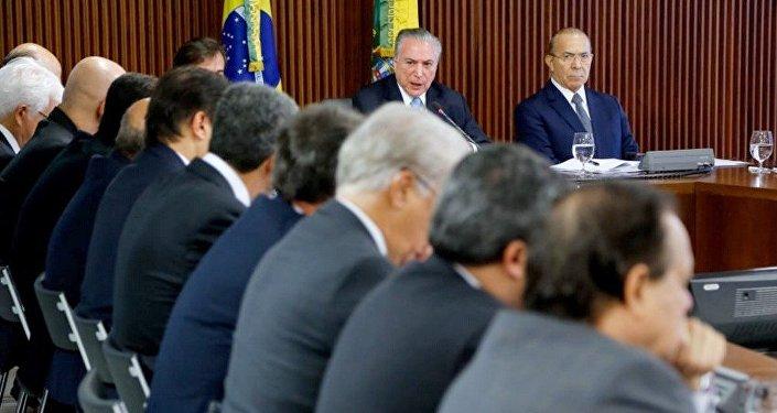 Presidente Michel Temer em reunião de líderes da base aliada na Câmara dos Deputados e da Comissão Especial da Reforma da Previdência