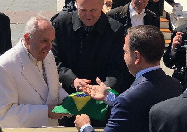 Prefeito de São Paulo, João Dória, visita o Papa Francisco