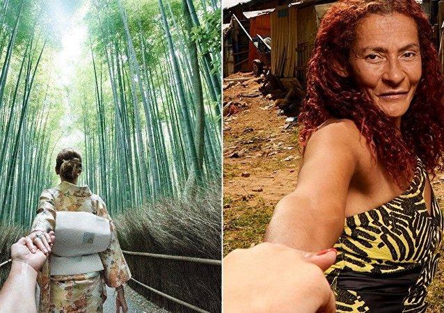 Á esquerda, projeto de fotógrafo russo Murad Osmann em viagem com a mulher; e ao lado, o projeto do Teto e o convite do morador a entrar em sua comunidade